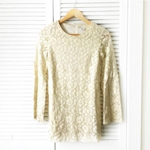 Divided Ivory And Gold Lace Bell Sleeve Mini Dress